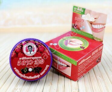 "Тайская зубная паста из кожуры ""Мангостина"" 5Star5A Herbal Clove & Mangosteen Peel Toothpaste, 25g"